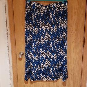 Long Blue, Black and White Skirt